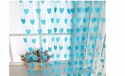 Homefab India Set of 2 Beautiful Blue Heart Door Curtains (HF323)