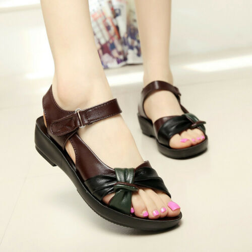 Womens Ladies Summer Fashion Leather Knot Sandals Wedges Comfort Big Size Shoes