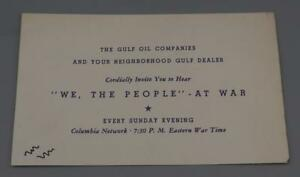 Vintage-Gulf-Aceite-Columbia-Network-Invitacion-We-The-People-At-War