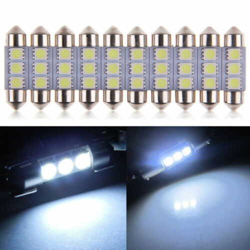 10pcs 36mm 3 LED 5050 SMD C5W 6418 CANBUS Error Free Dome Light Lamp Bulb White^