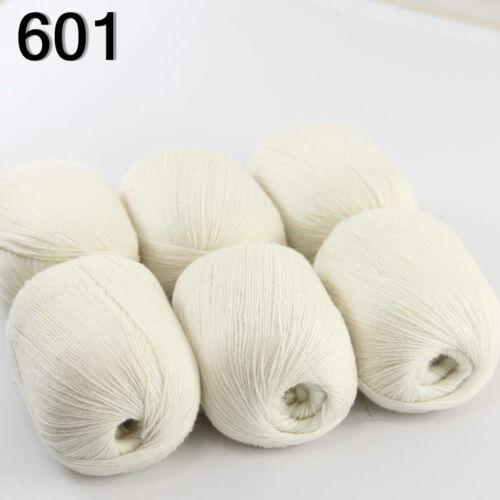 6skeinsx50g Super Fine soft Pure 100/% Cashmere Hand Knitting Yarn white 601 Sale