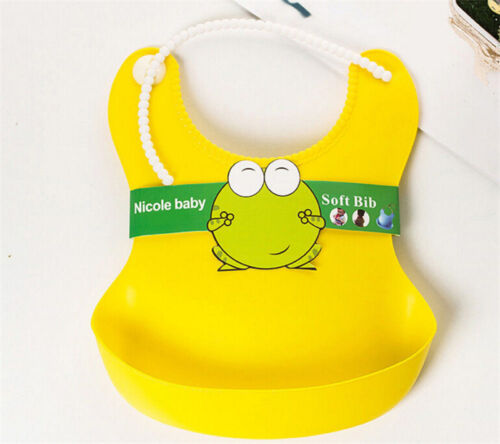 Waterproof Silicone Bib Baby Infants Kids Bibs Feeding Lunch Roll-up ApronRDBK