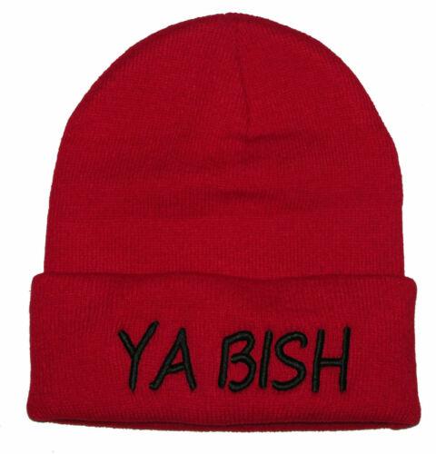 "BEANIE CUFFED /"" YA BISH /""EMBROIDERED SKULL CAP"