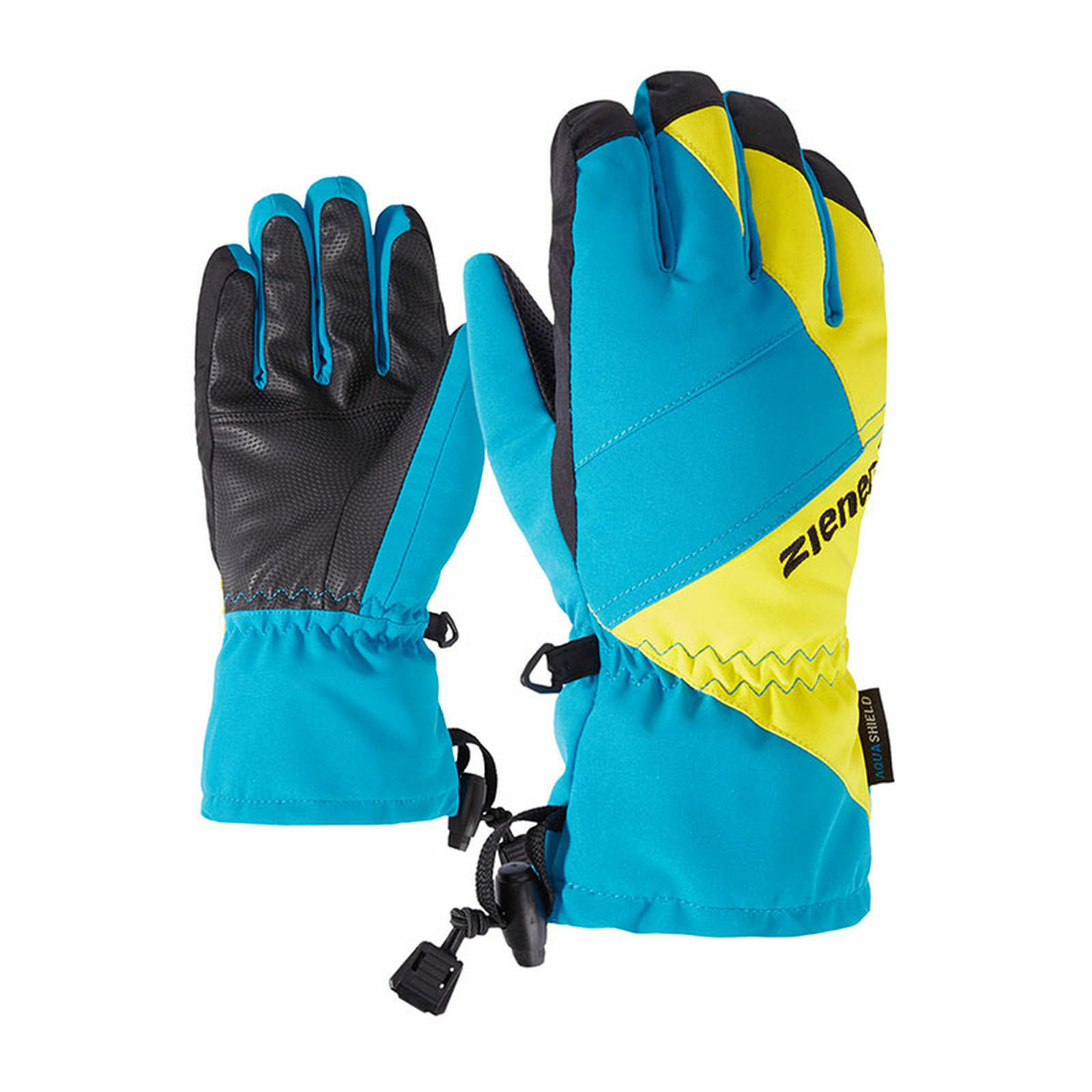 Ziener Kinder Skihandschuhe Fingerhandschuhe AGIL AS  blue   green 801905 113413
