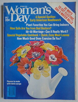 WOMAN'S DAY magazine Oct 1975 Fabric Flowers-COOKBOOK #225-Knit Crochet Sweater
