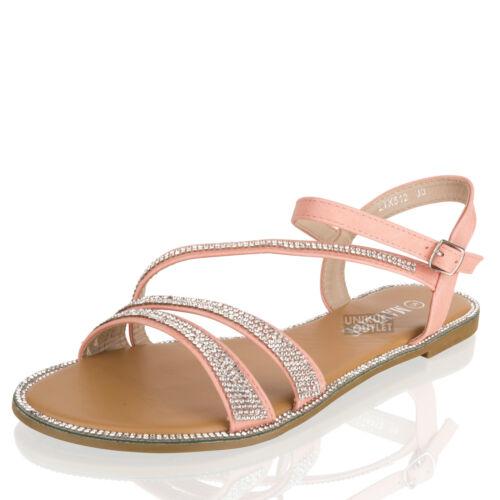 Donna Estate Sandali Diamante Vacanze Spiaggia Cinturino Caviglia Punta Aperta Scarpe