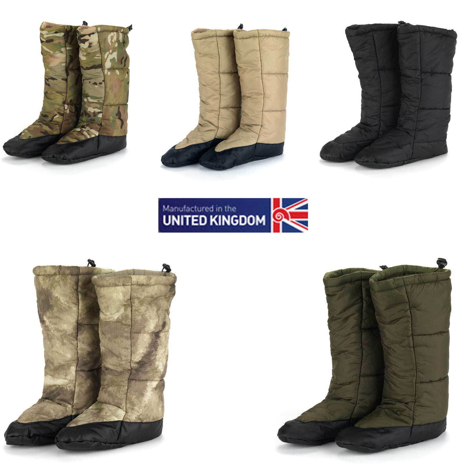 Snugpak Snugfeet Insulated Tent stivali Available in ATACS and Multicam All Dimensiones