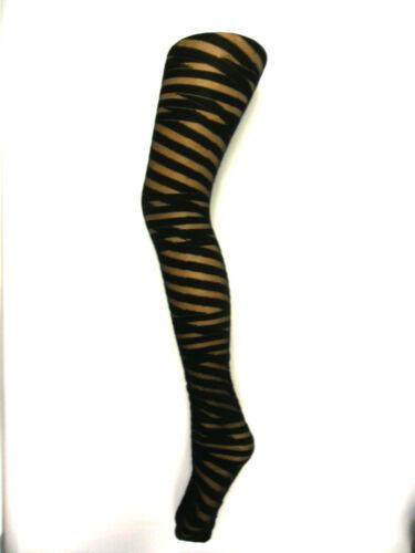PAMELA MANN DESIGNER BLACK SHEER FASHION TIGHTS STAR BANDAGE STRIPE SEAM