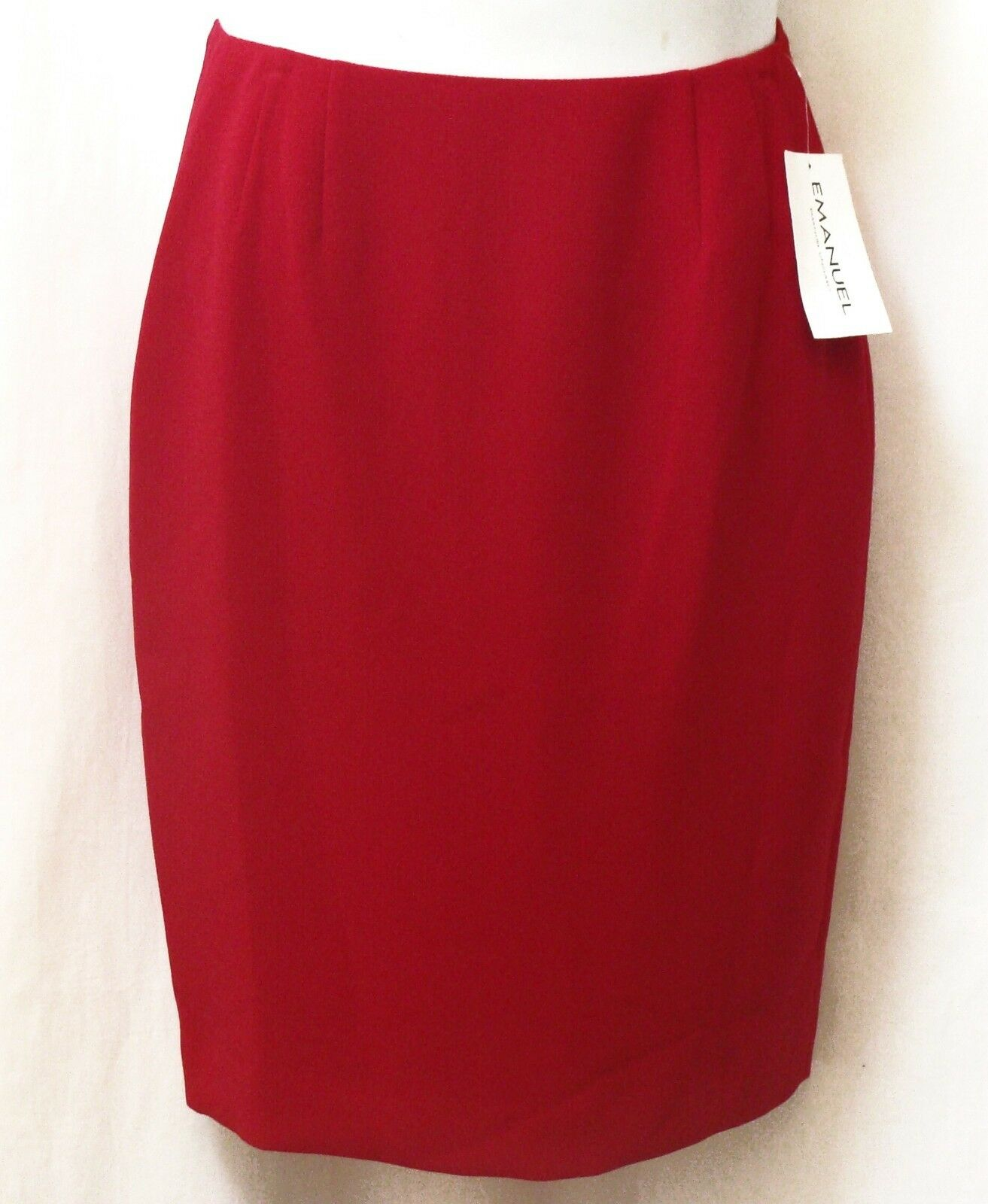 NEW EMANUEL Womens Skirt Size 8 42 Lined Polyester Red