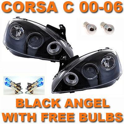 VAUXHALL CORSA C 00-06 BLACK ANGEL EYE HALO PROJECTOR HEAD LIGHTS LAMPS PAIR NEW