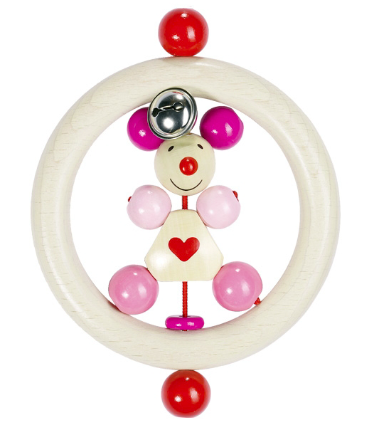 HEIMESS 762900 Wooden Pink Mouse TOUCH RING RATTLE for Baby/Toddler NEW