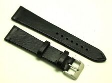 21mm Black HQ Genuine Leather Classic Style Watch Strap Handmade Silver Buckle