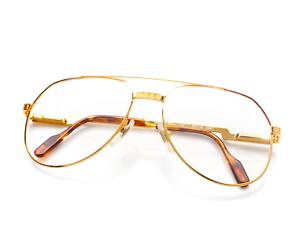 Vintage-Hilton-Exclusive-021-C2-Gold-Pilot-Eyeglasses-Optical-Frame-Lunettes-RX