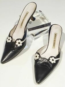 Manolo-Blahnik-mules-black-white-flowers-women-size-36-1-2-resoled-1-3-4-034-heels
