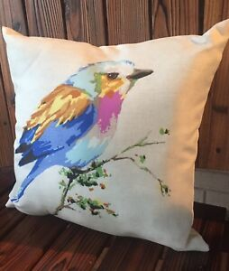 Colorful Bird On Tree Branch Indoor Outdoor Toss Throw Pillow Blue