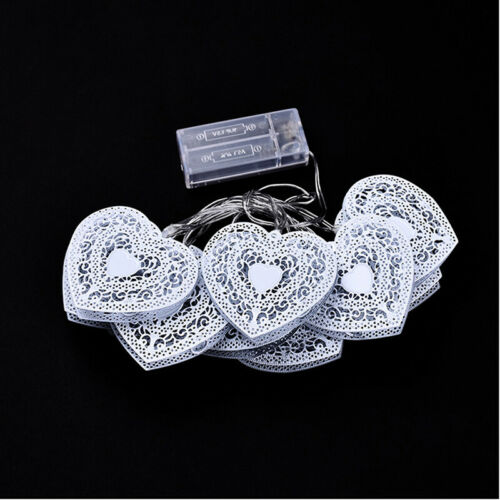 LED Hollow Out Metal Heart Shape String Lights Fairy Battery Christmas Light Q