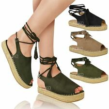 5a476e8bc06f1 item 3 Womens Ladies Lace Tie Up Strappy Low Flat Canvas Wedge Espadrilles  Sandals Size -Womens Ladies Lace Tie Up Strappy Low Flat Canvas Wedge  Espadrilles ...