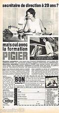 PUBLICITE ADVERTISING 065  1968   PIGIER  école formation secrétariat