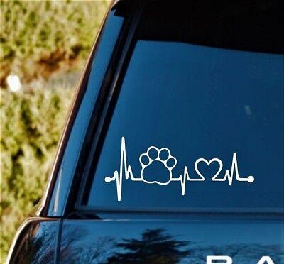 K1083 Pet Paw Heartbeat Lifeline Dog Decal Sticker