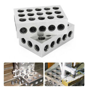 "2pcs 1-2-3 Block Set Matched Mill Machinist  23 Holes 0.0001"" Ultra Precision"
