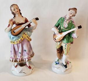 Pair Of Vintage Occupied Japan Guitar Playing Porcelain Figurines Lot H43 Ebay
