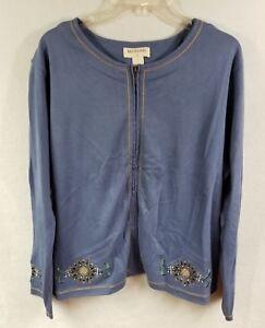 1fa942ef17339 Bechamel II Lightweight Jacket Plus Size 1X Full Zip Blue Floral ...