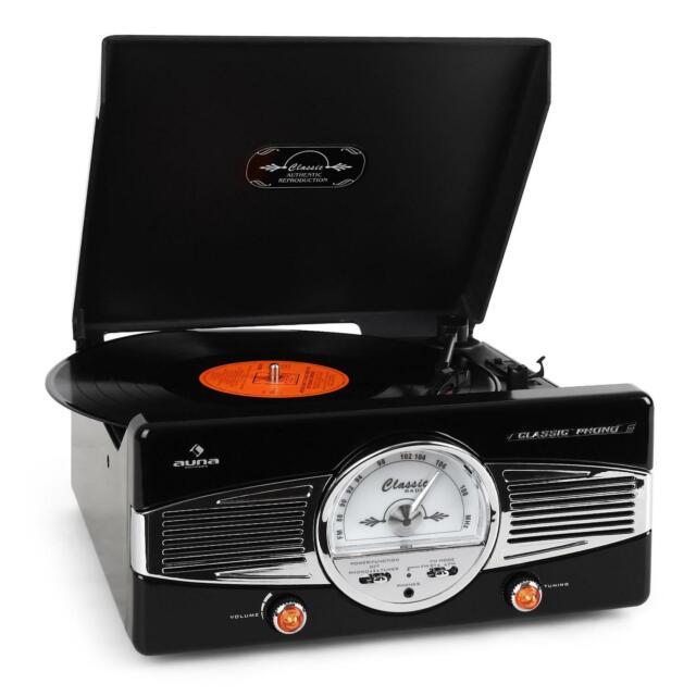 MINICADENA TOCADISCOS DISEÑO AÑOS 50 RETRO VINTAGE ALTAVOCES ESTEREO 33 45 RPM