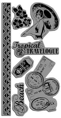 """Graphic IC0133 """"Tropical Travelogue """" 4""""x8"""" Sheet   7 pcs Cling Mounted Stamps"""