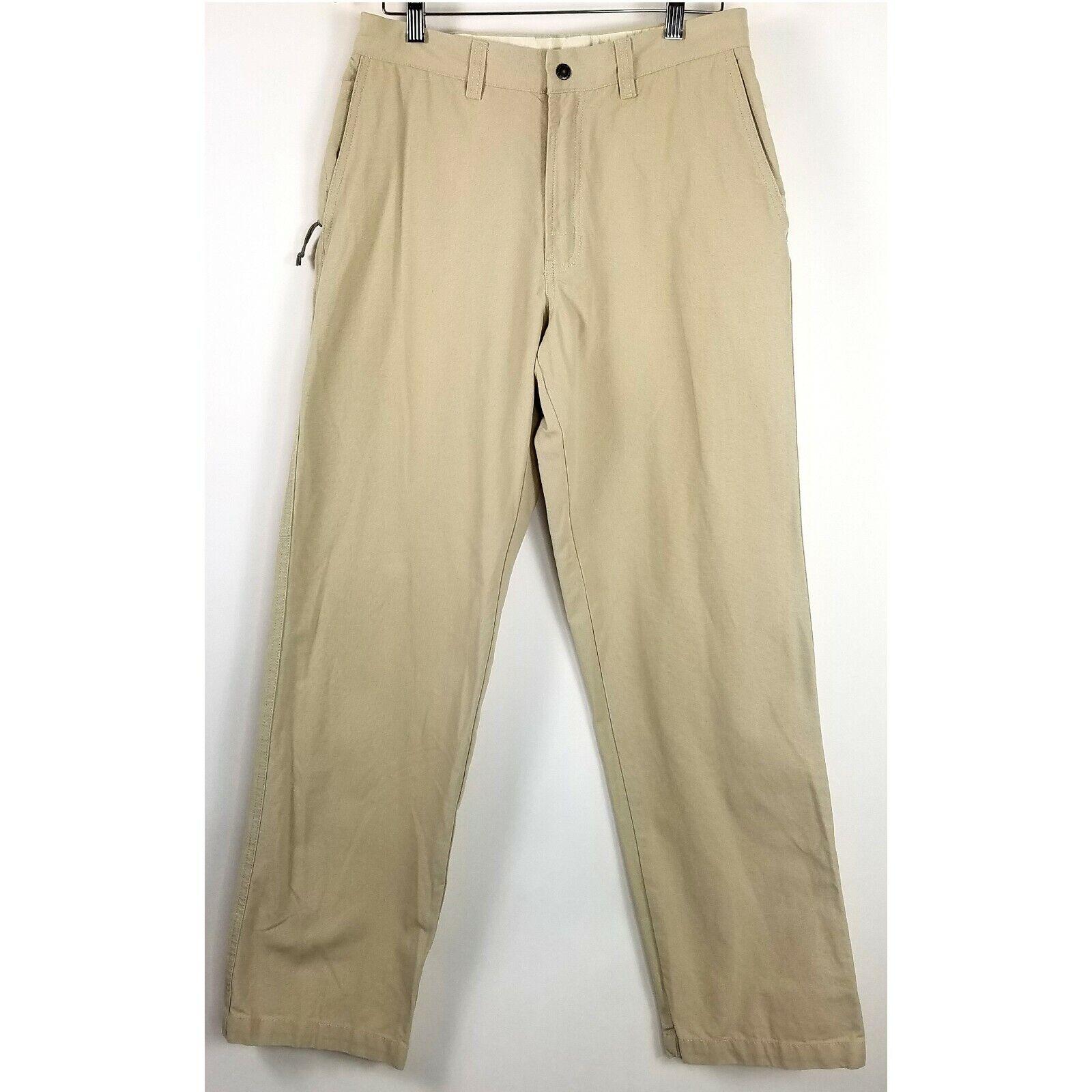 Columbia Mens Khaki Pants 8 oz. Stone Washed Granite Cloth Fabric Size 32 32