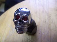 Chrome Skull Head Decorative Mounting Bolts With Red Eyes Set Of 4