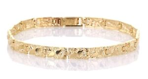 "Real Solid 14k Yellow Gold Nugget Bracelet Adjustable 7"" 5.5mm 10-11 grams"