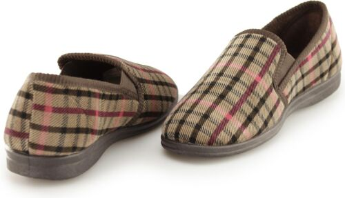 Traverses Samson Homme vérifier velours Enfiler Chaussons complète intérieure confortable chaussures brown