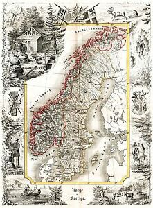 MAP-ANTIQUE-MUNCH-1847-NORWAY-SWEDEN-HISTORIC-LARGE-REPLICA-POSTER-PRINT-PAM1146