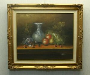 Vintage-Still-Life-Oil-Painting-Vase-Apples-Pears-Grapes-Gold-Leaf-Frame-32-x-28