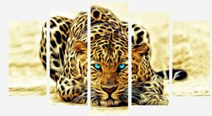 Abstract-Leopard-Animal-Wild-Cat-5-Split-Panel-Wall-Art-Canvas-Picture