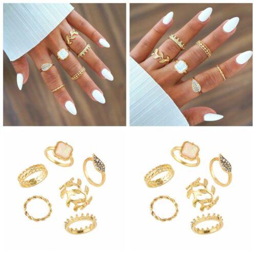 6pcs//Set Crystal Crown Femmes or Above Knuckle Finger Ring Band Midi Rings