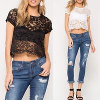 Womens Short Sleeve Lace Crochet T Shirt Blouse Ladies Casual Crop Top Shirt Tee