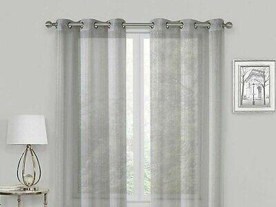 2 Metallic Grommet Sheer Glam Shimmer, Shimmer Grommet Curtain Panels