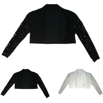 Girls Bolero Long Lace Sleeve Open Front Shrug Cardigan Kids Top