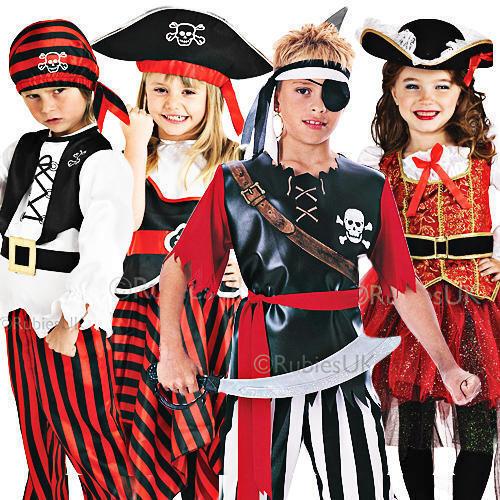 Niños Pirata Disfraz Sombrero Libro Semana Chicos Chicas Halloween Elaborado Vestido Childs 3-8