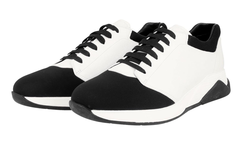 AUTH LUXURY PRADA SNEAKERS SHOES 4E2899 BLACK WHITE NEW US 10.5