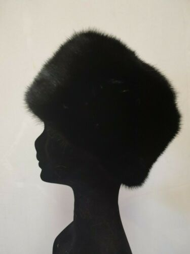 cappello pelliccia di visone nero mink fur hat fourrure vison nerz Pelzmütze