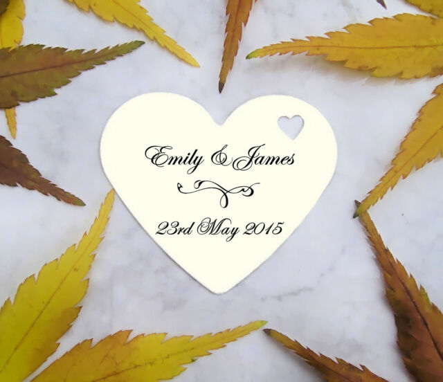 75 Personalised Printed Love Heart Wedding Favour Tags Labels Tree Christening