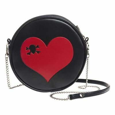 Alchemy Gothic Blood Heart Skull /& Crossbones Round Black Purse Hand Bag