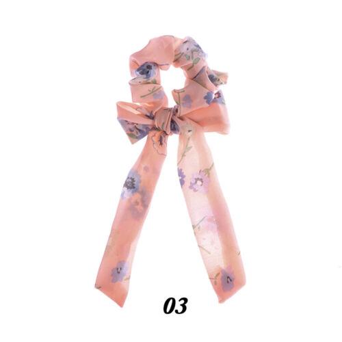 Hair Rope Elastic Hairbands Bow Streamers Hair Ring Floral Print  Scrunchie