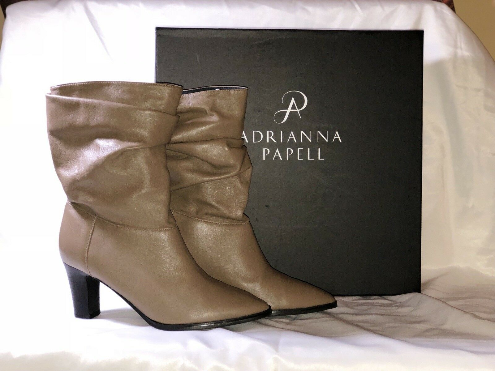 Adriana Papell Women's Noelle Latte Mestizo  Leather Mid-Calf Boots