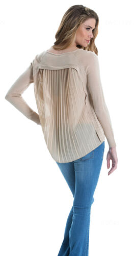 Elan Pullover Sweater with Pleated Chiffon