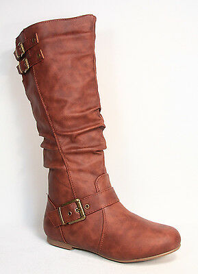 Cute Fashion Low Flat Heel Riding Mid-Calf Knee High Boot Shoes Size 5 - 10 NEW