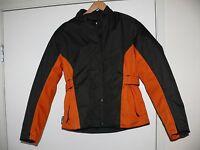 Rockin' Leather Women's Motorcycle Jacket Black Orange Size S Small Canvas
