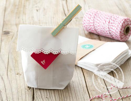 10 SPITZE Bodenbeutel Geschenktüten Papiertüten Papier Tüten  weiß 11x17 cm